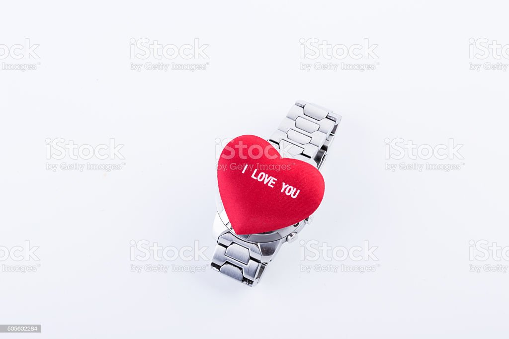 watch and little red heart stock photo