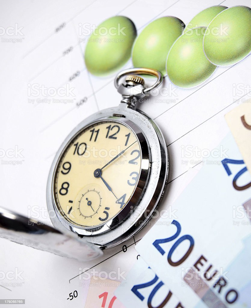 Watch and money. On financial graphs. royalty-free stock photo