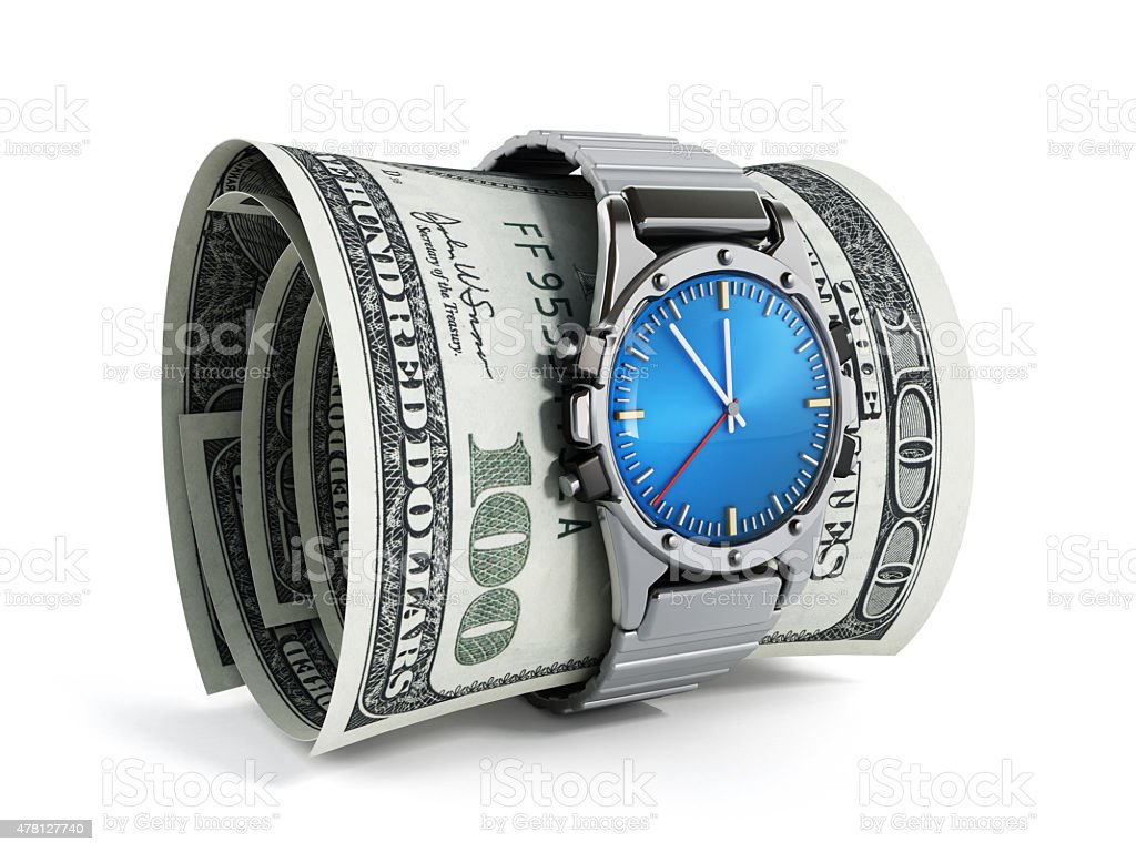 Watch around dollar pile stock photo