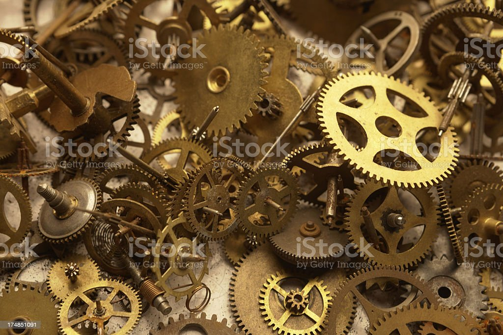 Watch cogs in a heap stock photo