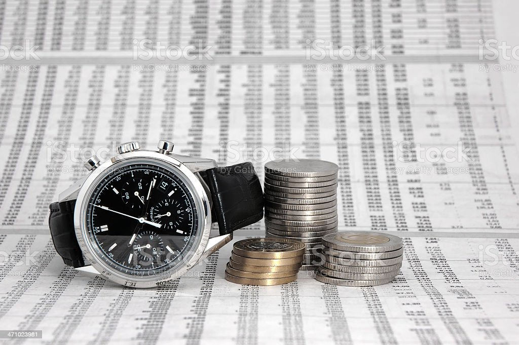 watch, coins and numbers royalty-free stock photo