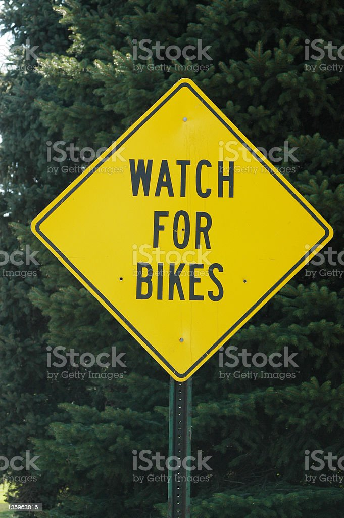 Watch for Bikes Sign royalty-free stock photo