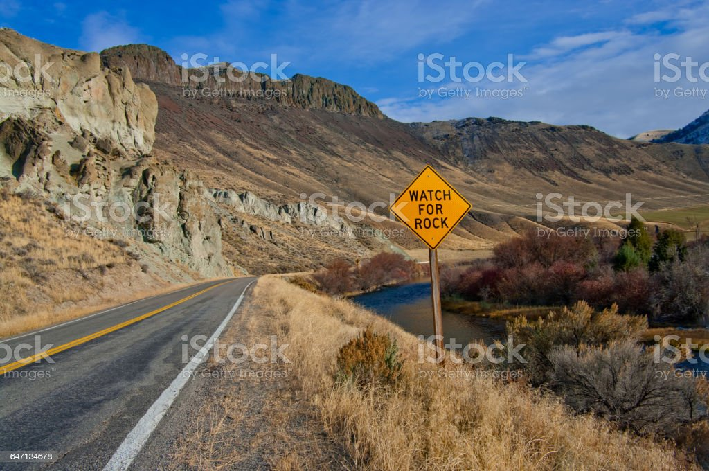 Watch for Rock Sign stock photo