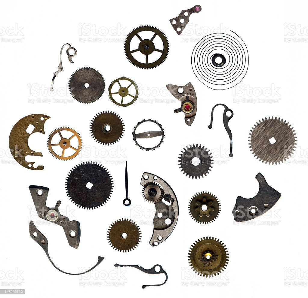 Watch gears and mechanical parts stock photo