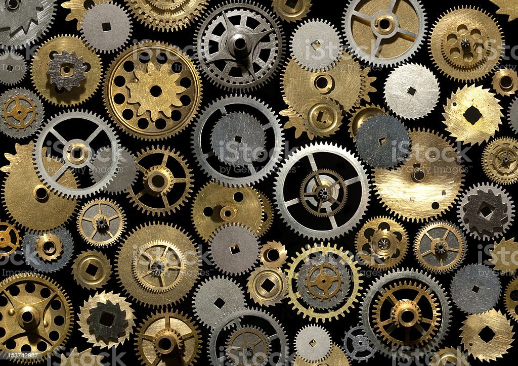 Watch gears on the black stock photo