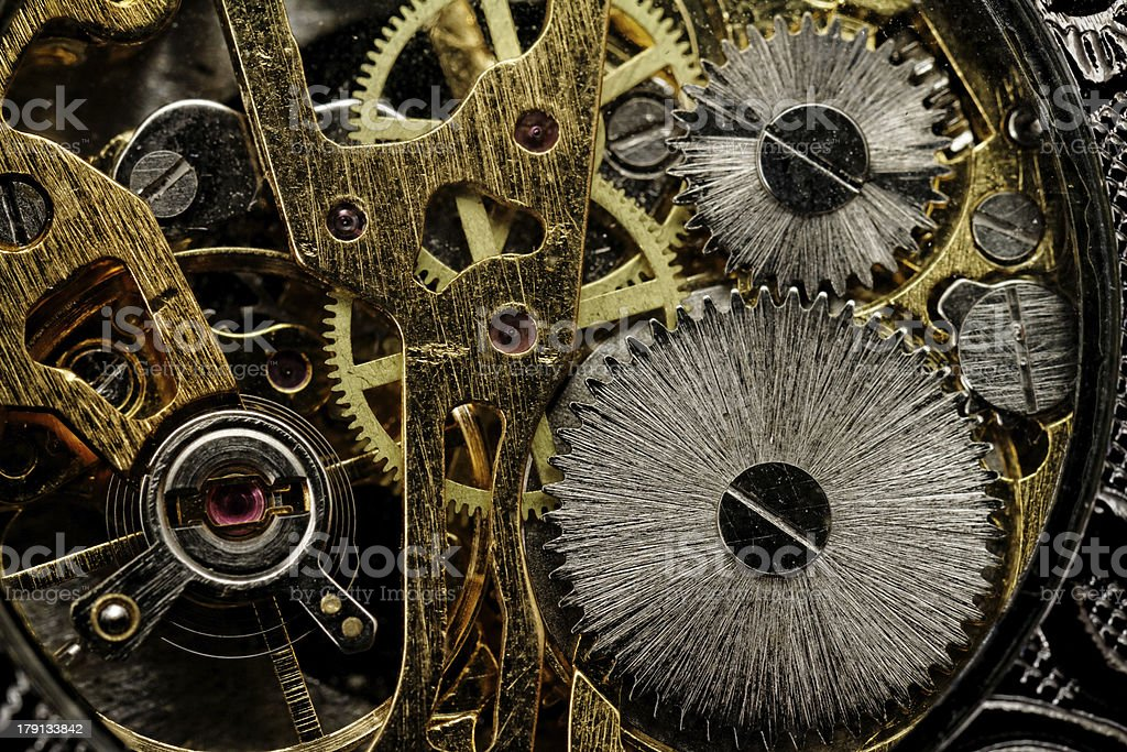 Watch gears very close up royalty-free stock photo