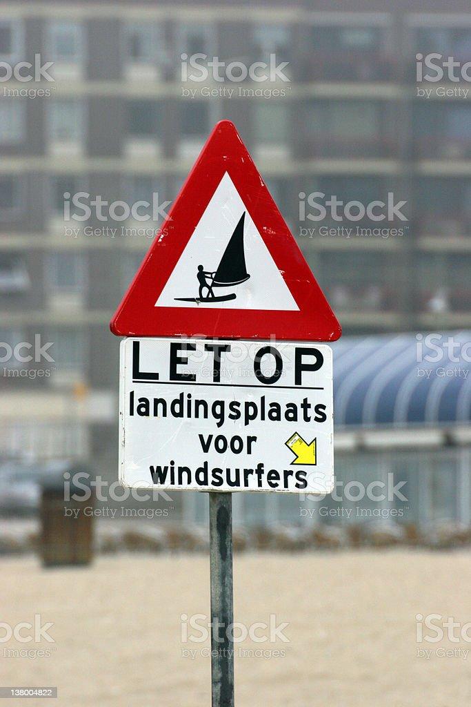 Watch it landing zone for windsurfers stock photo