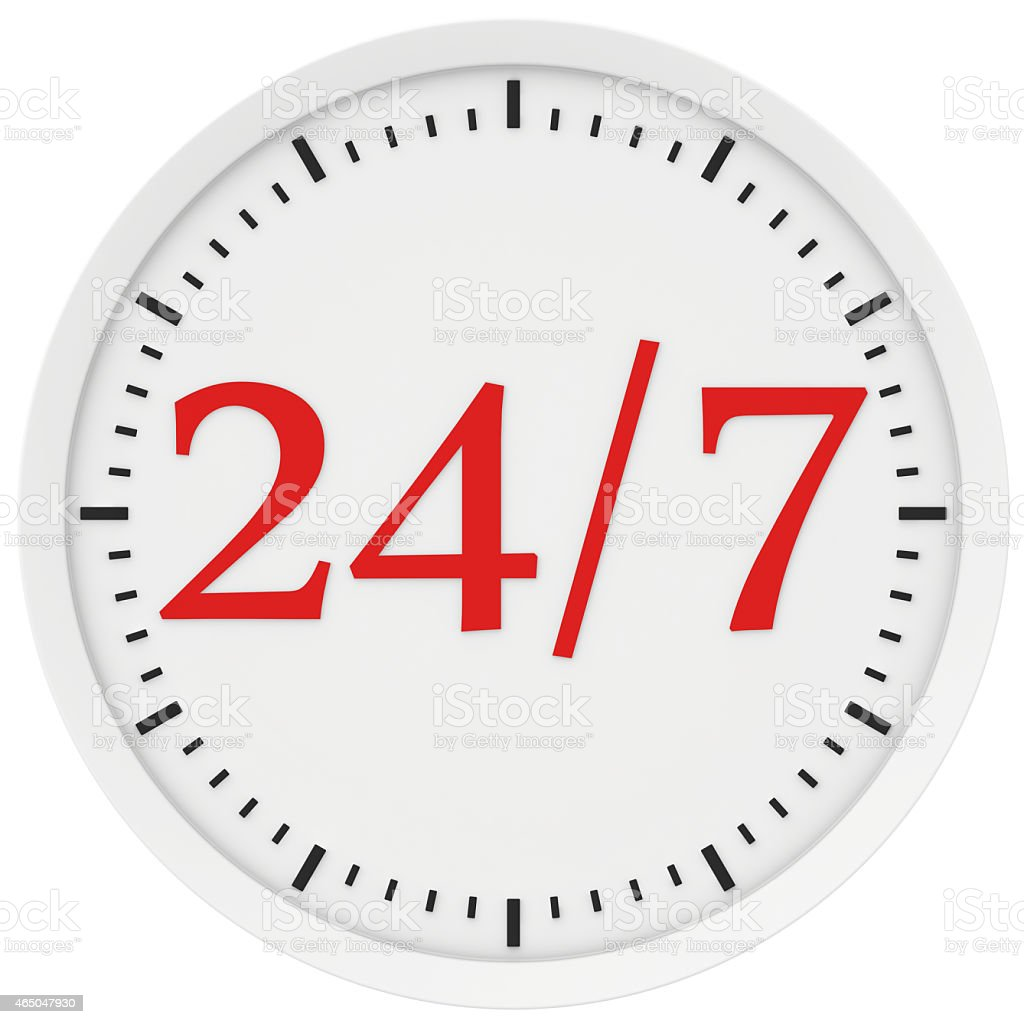 Watch labeled 24 hours a week stock photo