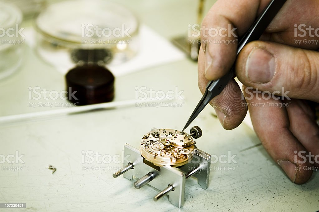 Watch Maker at Work royalty-free stock photo