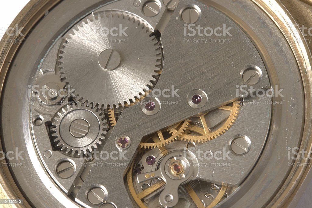 Watch mechanism close up royalty-free stock photo