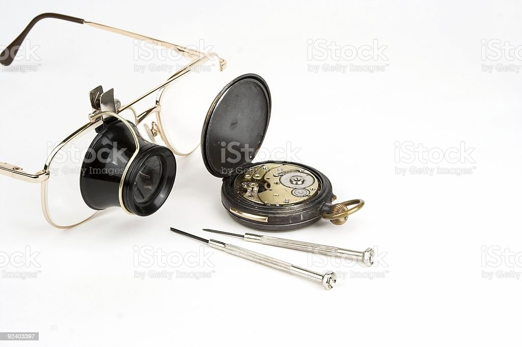 Watch Mending Loupe And Tools stock photo