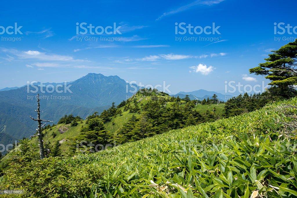 Watch Mt. Ishizuchi direction from Mt. Kamegamori in Japan stock photo