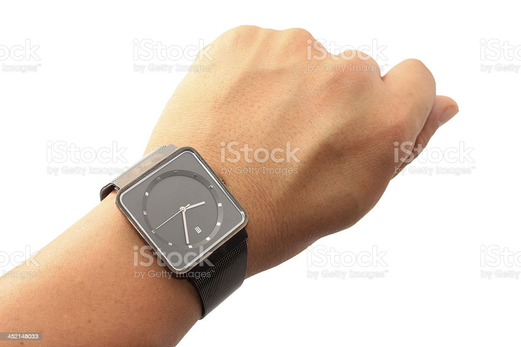 Watch on wrist stock photo