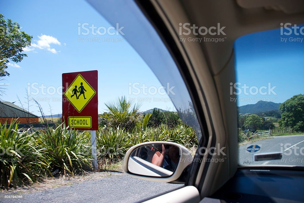 Watch Out Children Crossing Sign, New Zealand stock photo