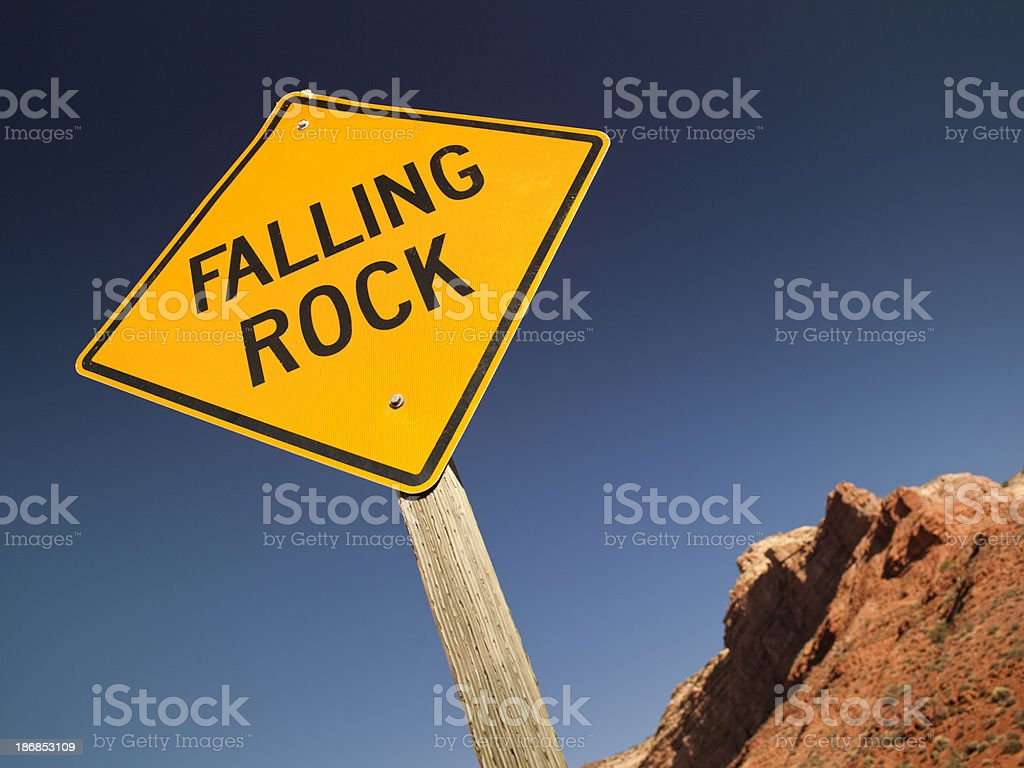 Watch out for falling rocks royalty-free stock photo