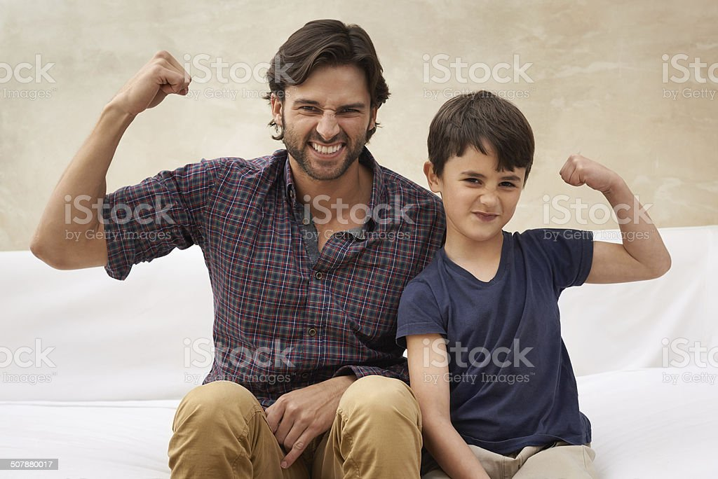 Watch out! They're two tough guys stock photo