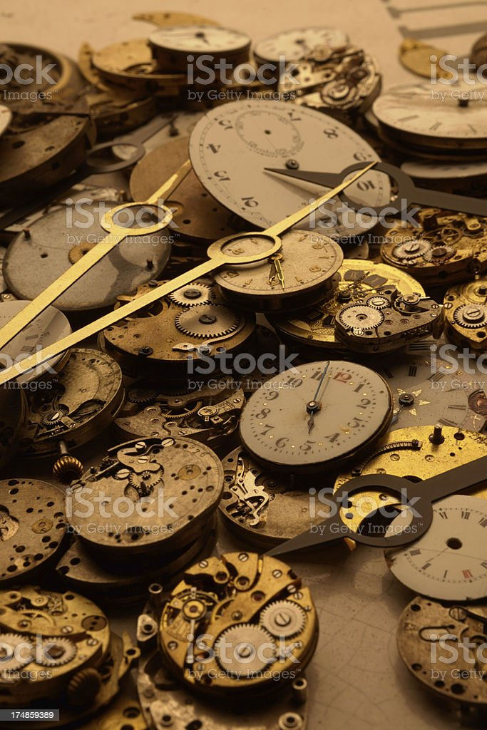 Watch parts in a heap stock photo
