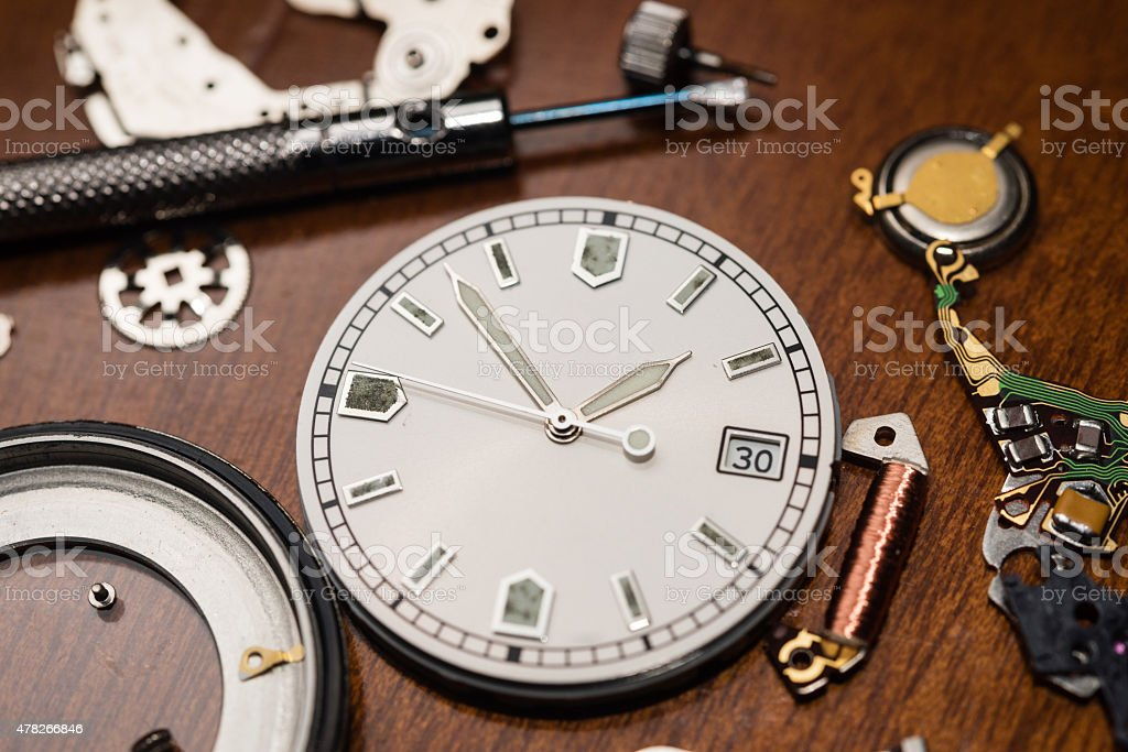 Watch parts stock photo