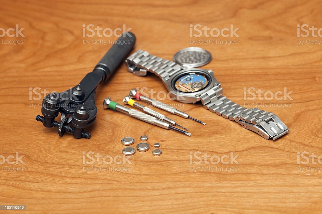 Watch Repair, Battery Replacement stock photo