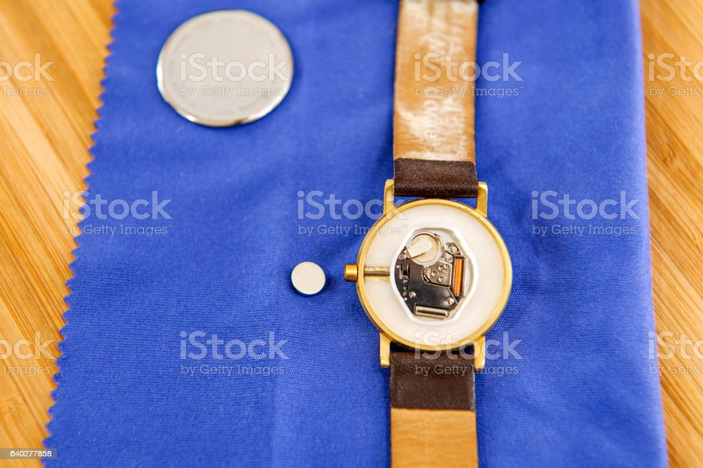 Watch repair detail with mechanism and battery replacement stock photo