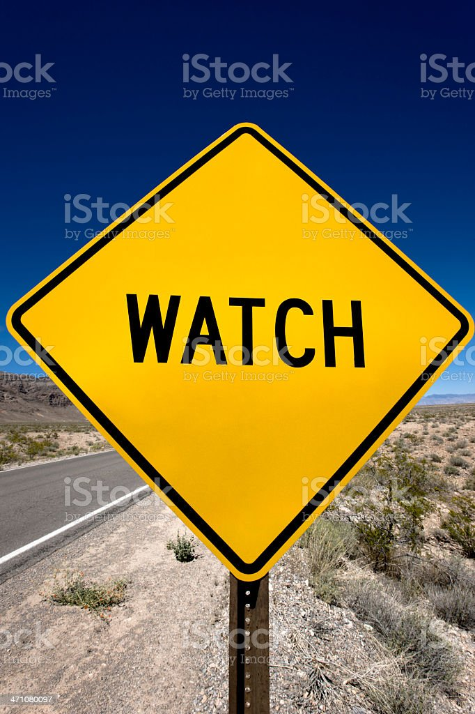Watch Road Sign royalty-free stock photo