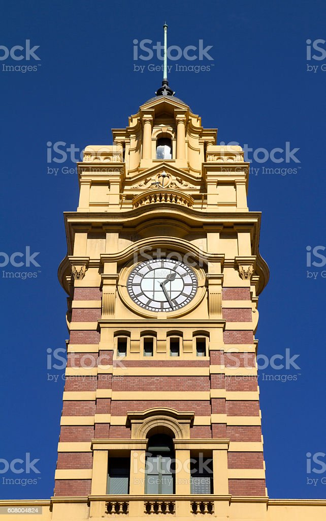 Watch the Flinders Street Station, Flinders Street. stock photo