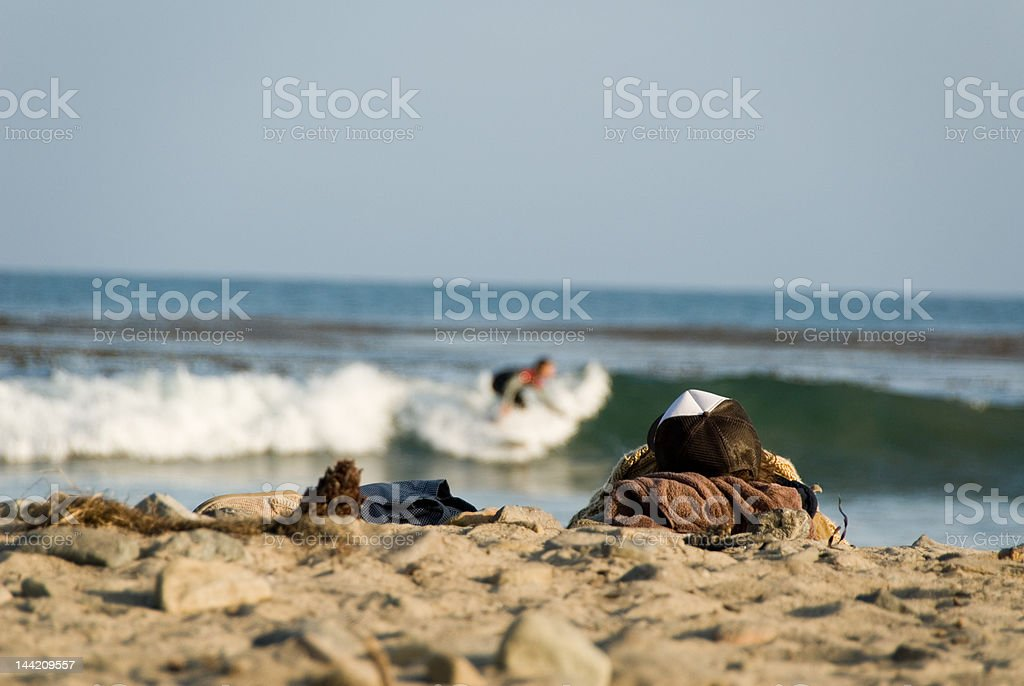 Watch the Surfer - Beach Series royalty-free stock photo