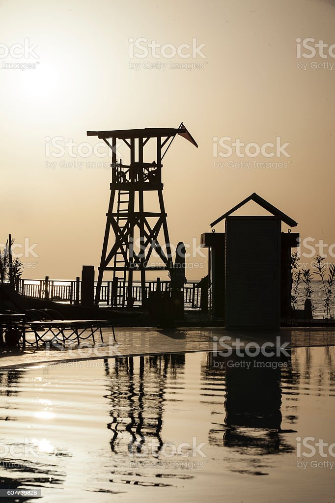 watch tower and sunset stock photo