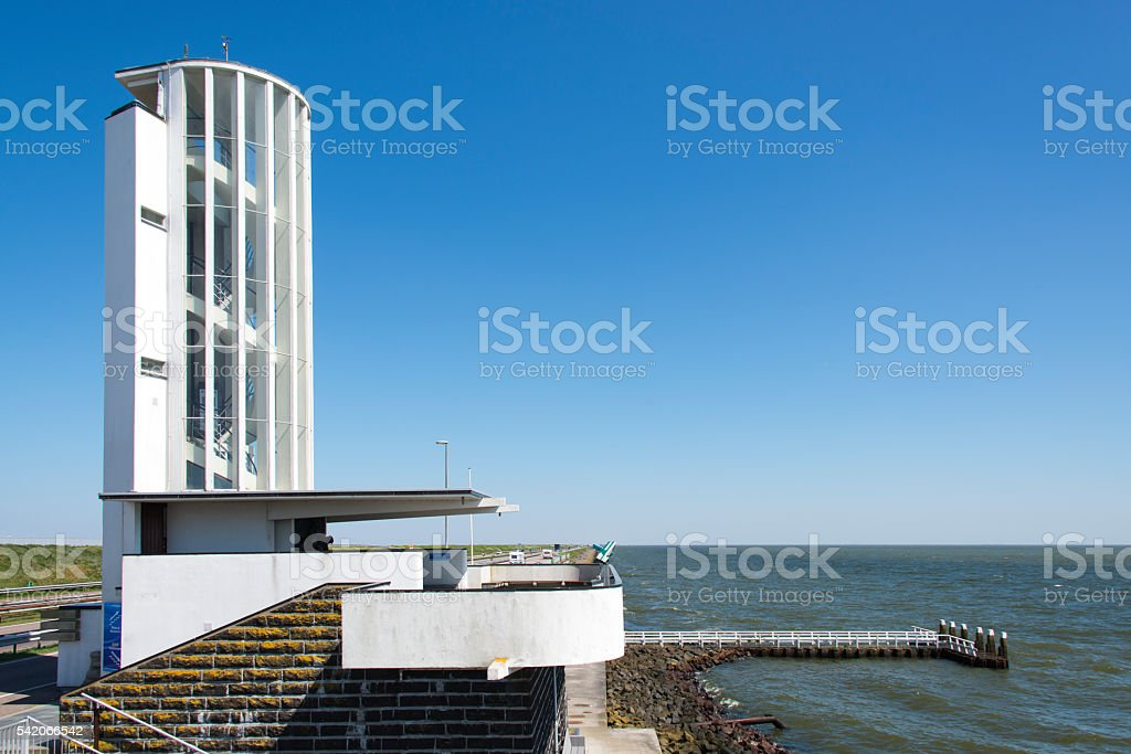 Watch tower at the 'Afsluitdijk' dike dam stock photo