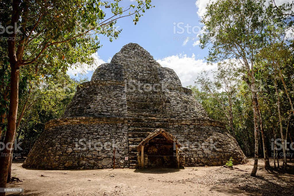 XXXL: Watch Tower at the Mayan ruins of Coba, Mexico stock photo