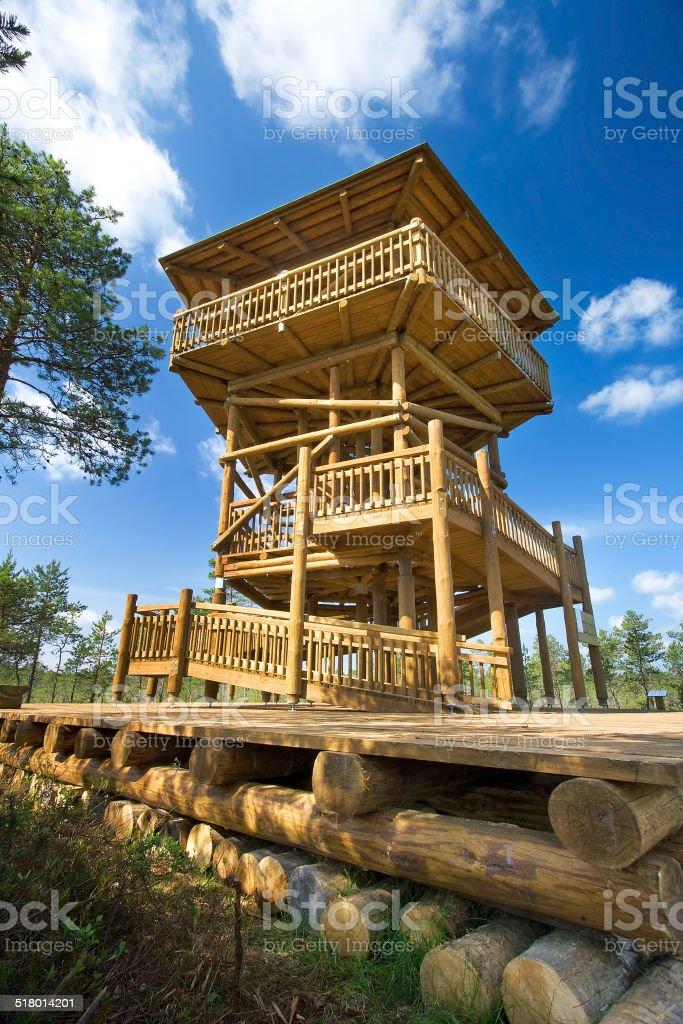 Watch tower at Viru bogs stock photo