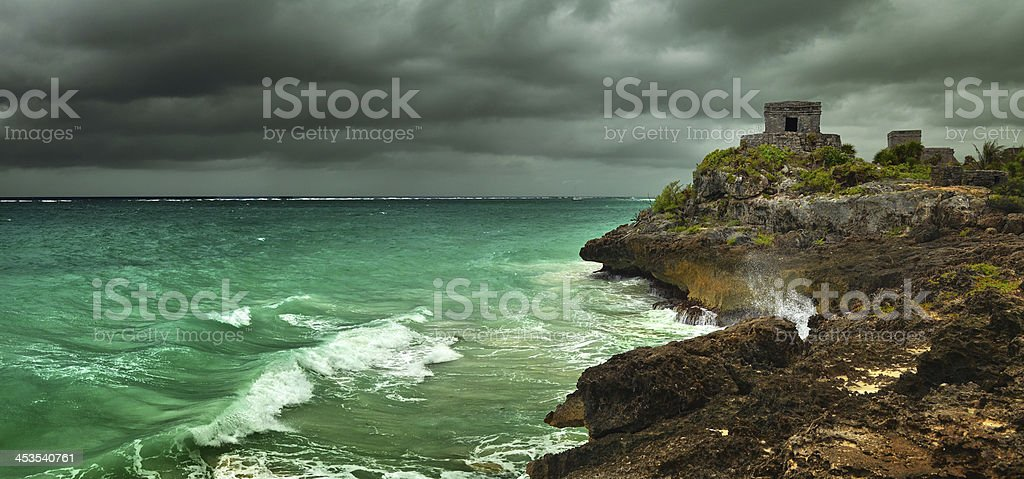 Watch tower in ancient city on Caribbean coast Tulum royalty-free stock photo
