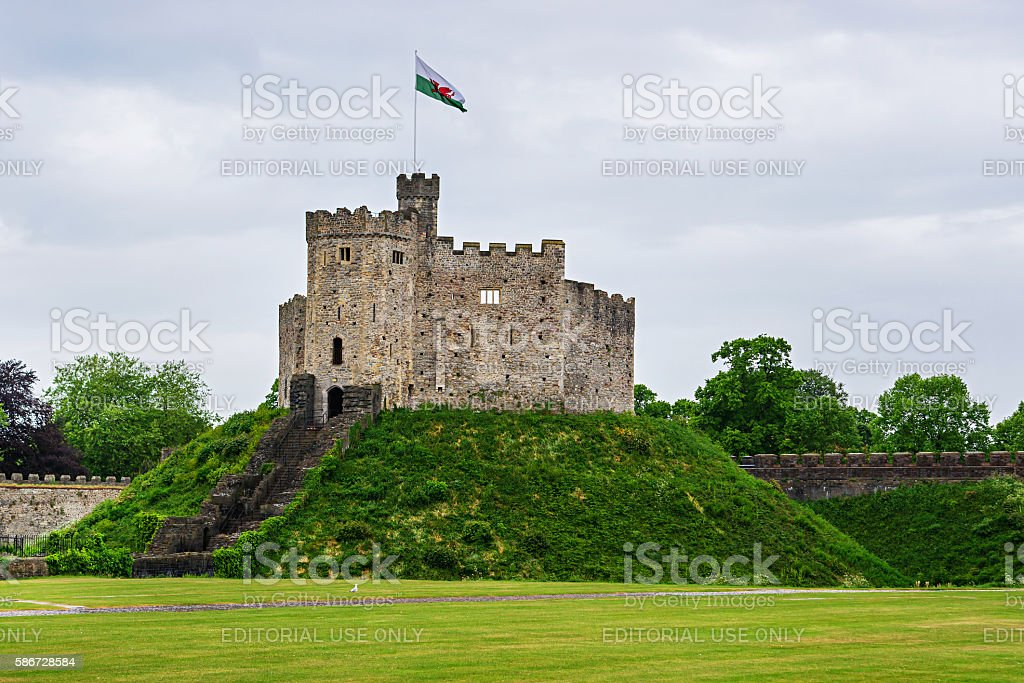 Watch Tower of Cardiff Castle in Cardiff in Wales stock photo