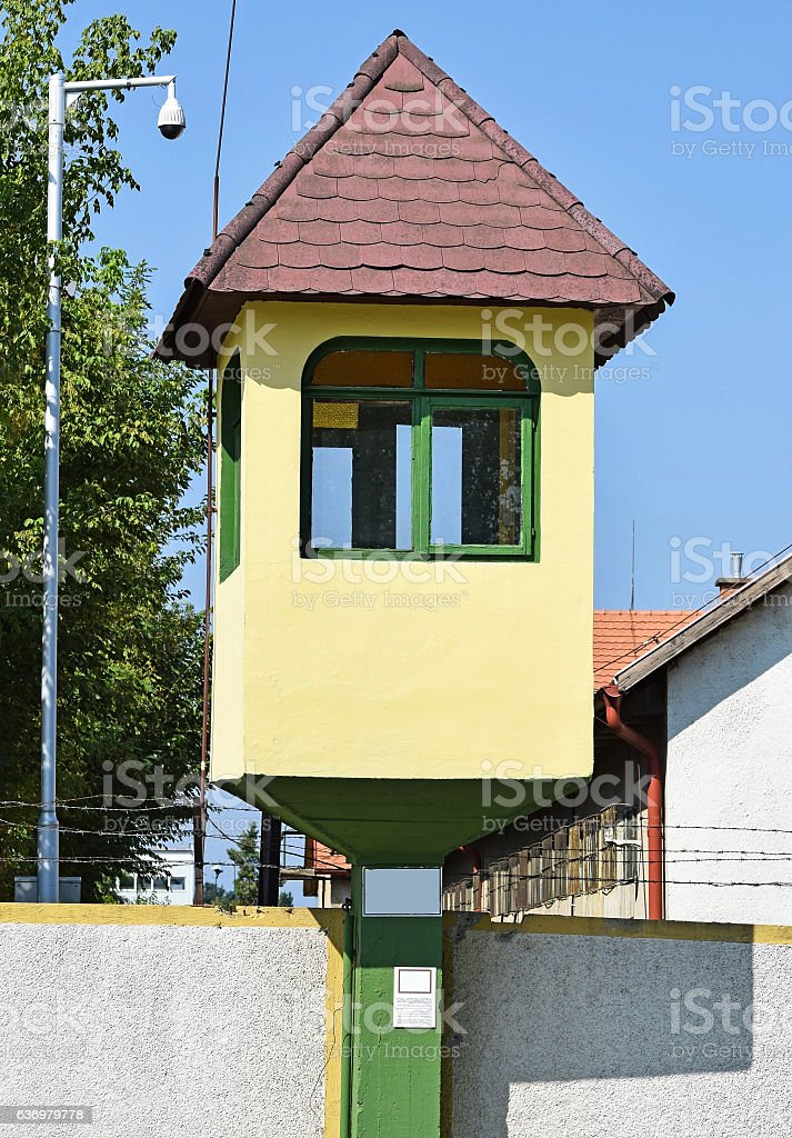 Watch tower of the army base stock photo