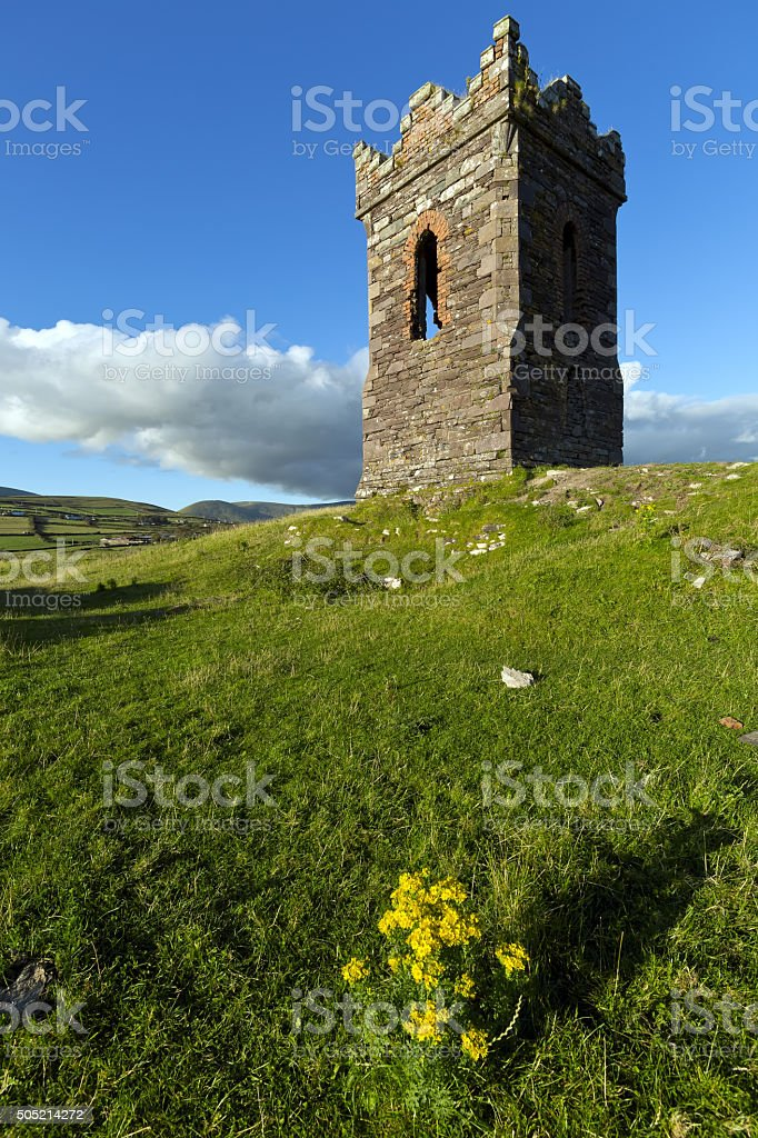Watch tower over looking Dingle Bay Co. Kerry, Ireland stock photo