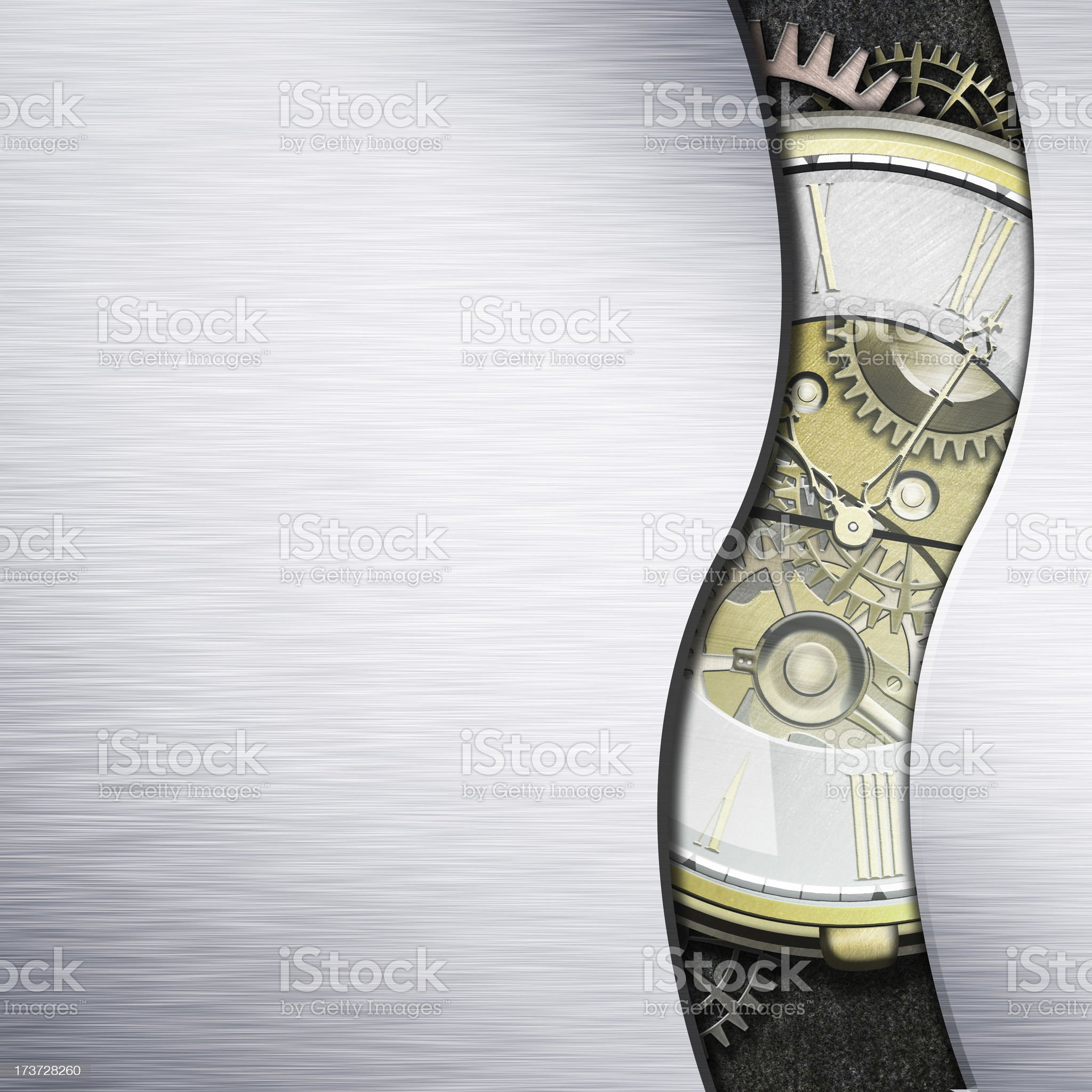 Watch with exposed mechanism showing wheels and cogs royalty-free stock photo