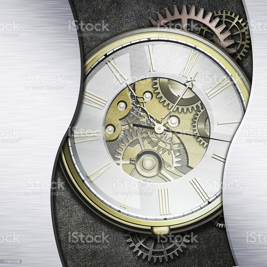 Watch with exposed mechanism showing wheels and cogs stock photo