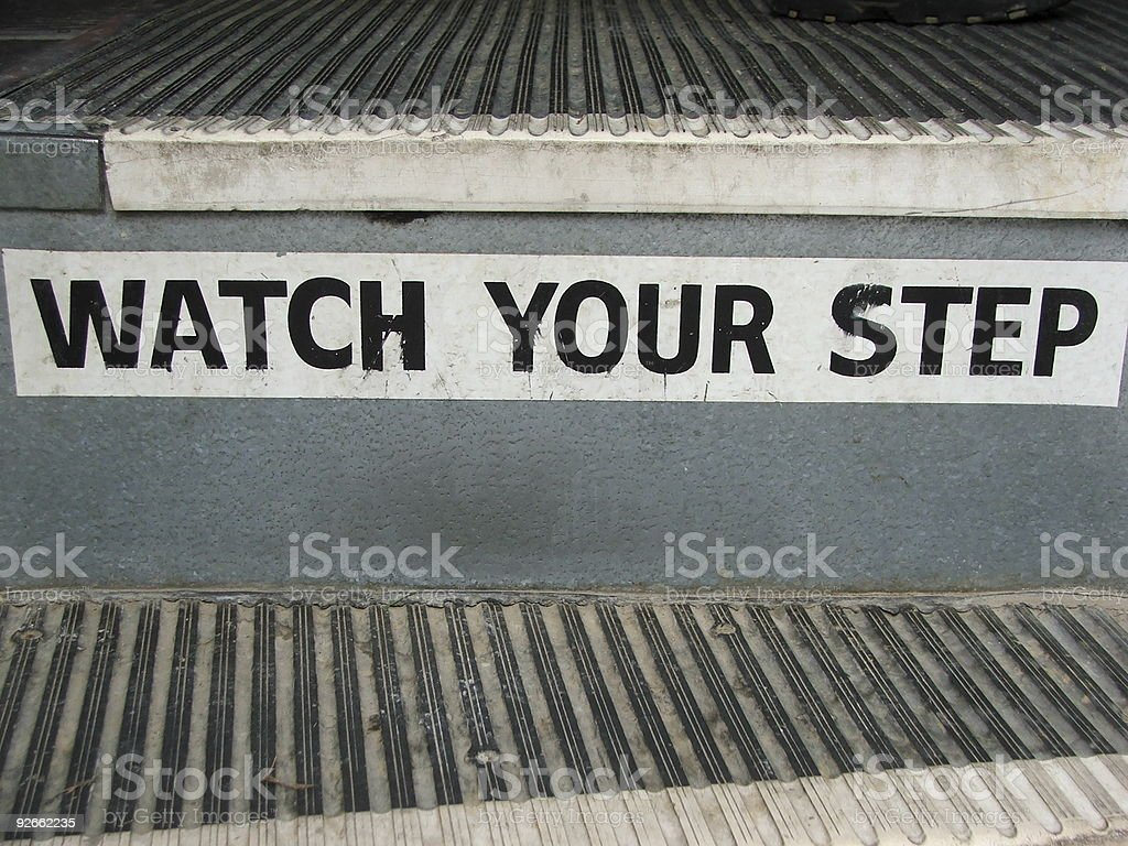 Watch Your Step stock photo