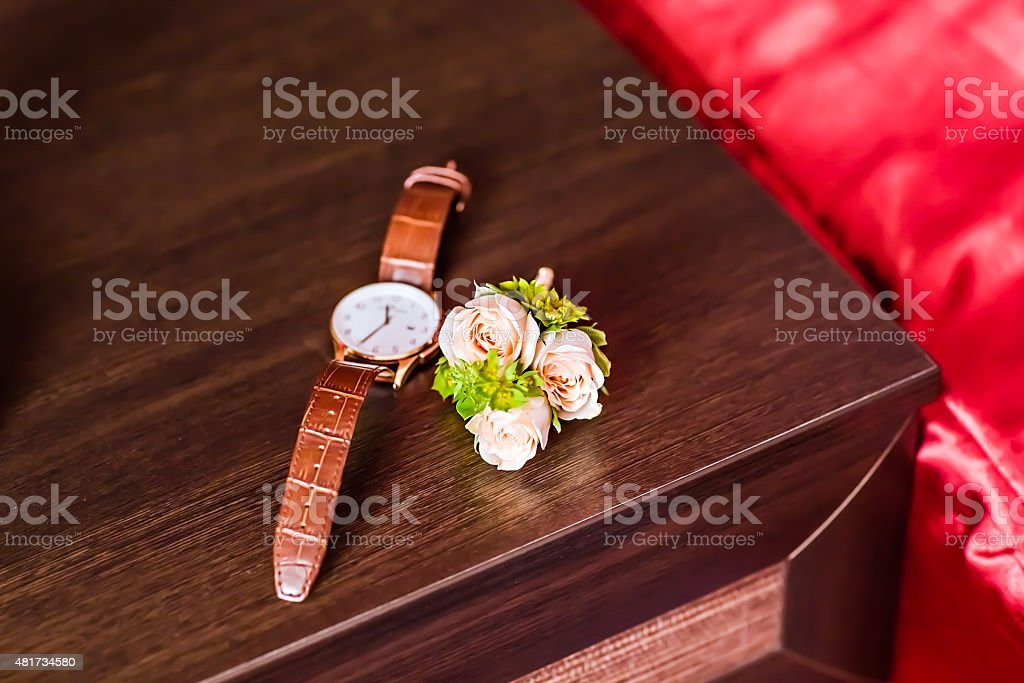 watches and boutonniere stock photo