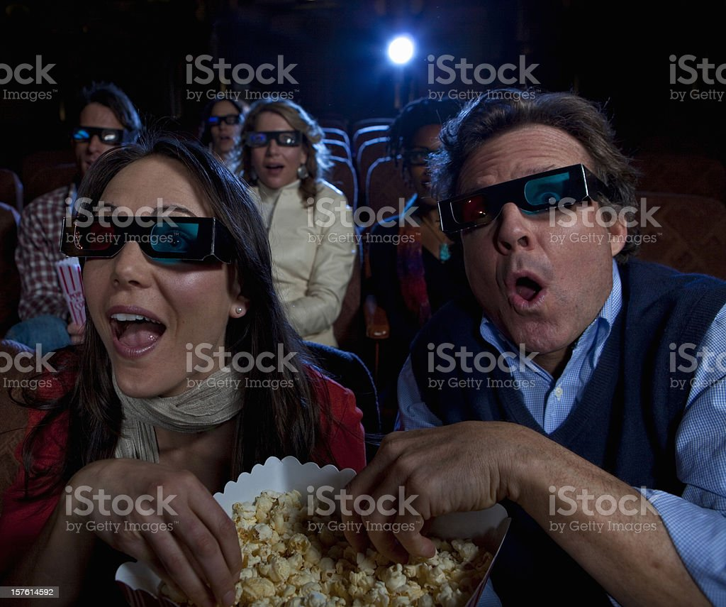 Watching a 3D Movie royalty-free stock photo