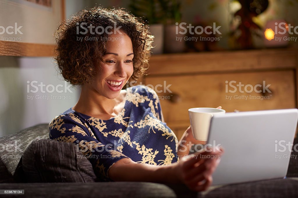 watching a film online stock photo