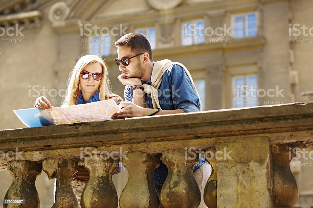 Watching a map stock photo