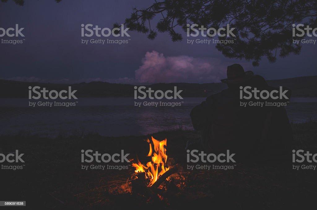 Watching a sunset stock photo