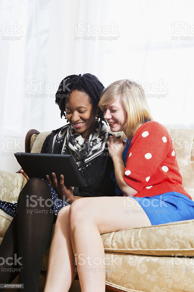 Watching a Tablet stock photo