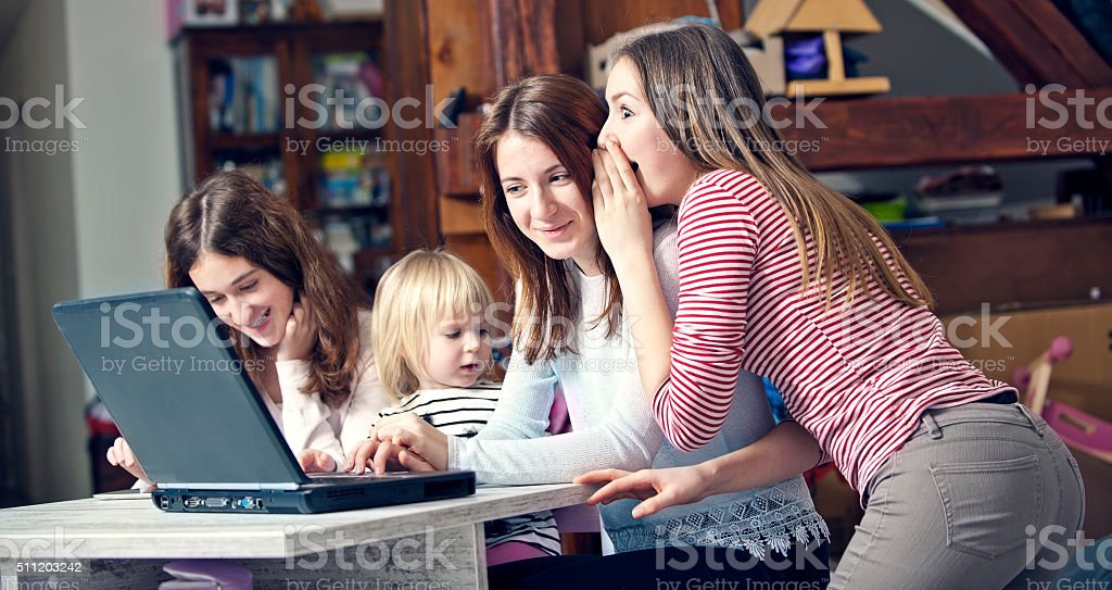 Watching a Video Together stock photo