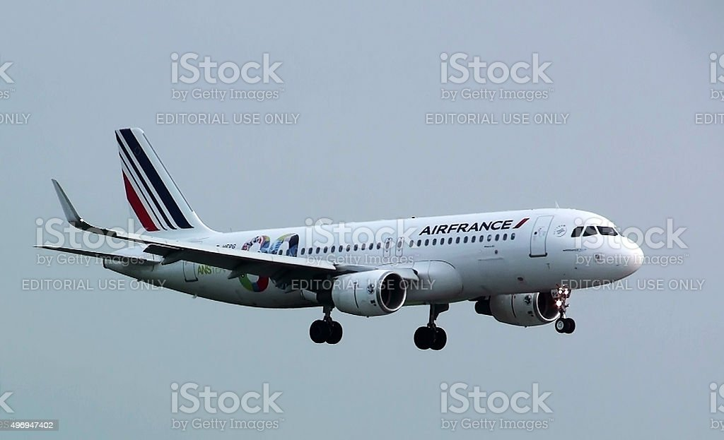Watching Air France Descending For For Landing At Schiphol Airport stock photo