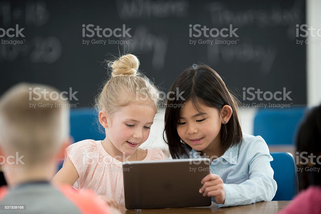 Watching an Educational Video stock photo