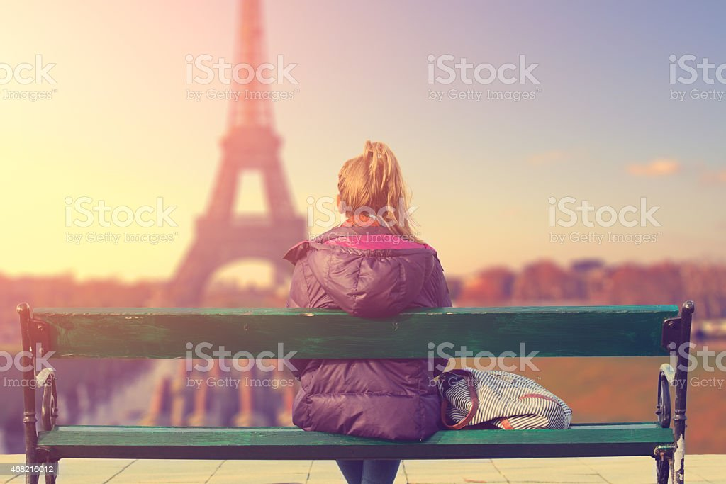Watching at Paris city scape at sunset. stock photo