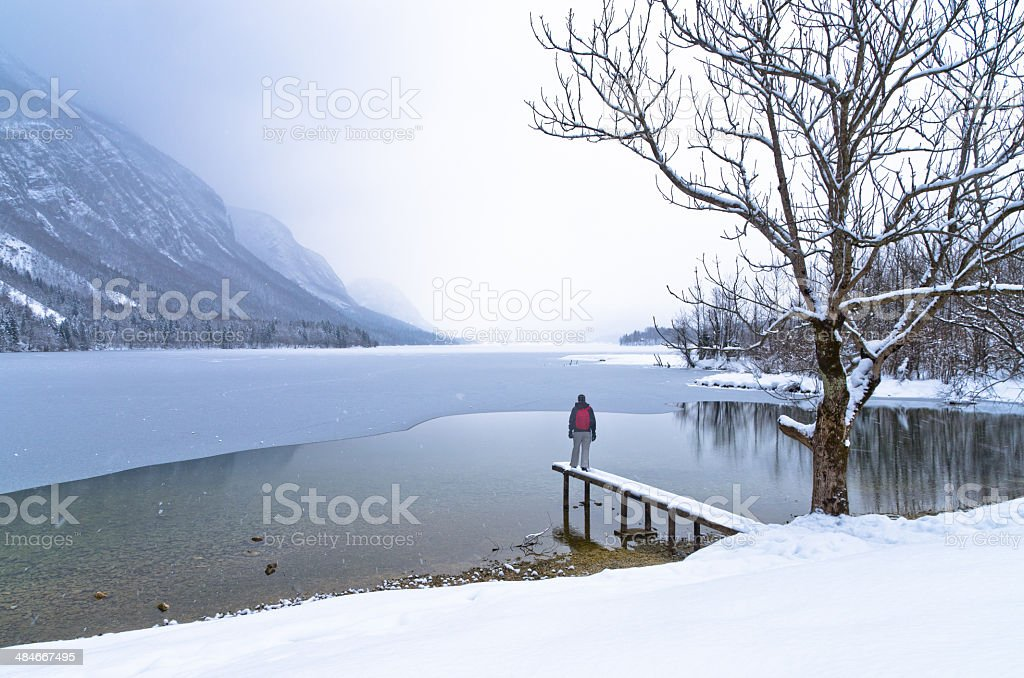 Watching coming of a snow storm over frozen lake Bohinj stock photo