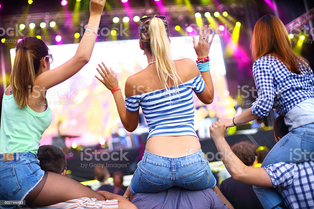 Watching concert performance. stock photo